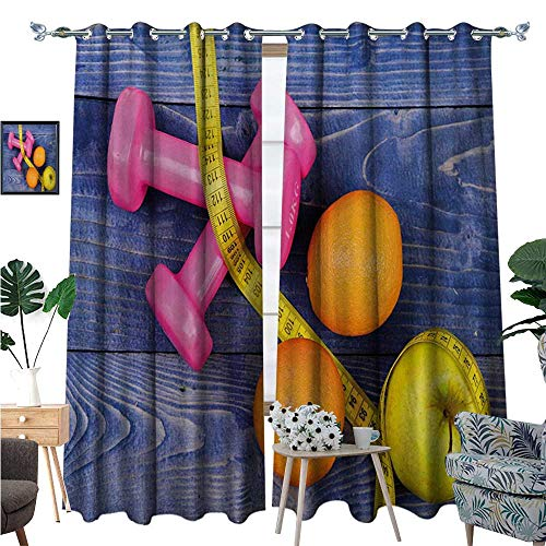 Fitness Waterproof Window Curtain Womens Dumbbells Apples Oranges Measuring Tape Eat Clean Live Active Theme Objects Blackout Draperies for Bedroom W120 x L96 Multicolor