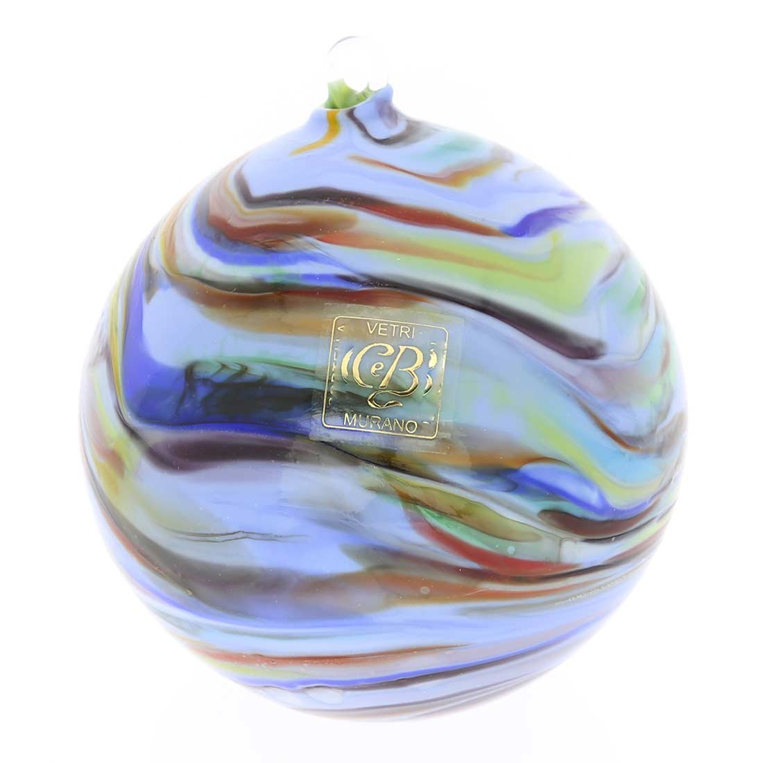 GlassOfVenice Murano Glass Chalcedony Christmas Ornament - Periwinkle