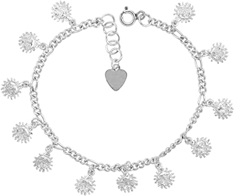 Sterling Silver Anklet with Beads fits 9-10 inch Ankles