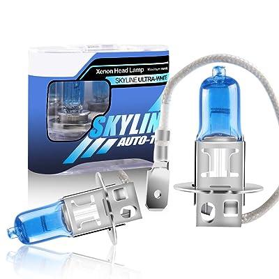 H3 55W Halogen Xenon Light Bulbs White 5000K 12V Replacement Car Headlight Fog Light Lamp-2 Pack: Automotive