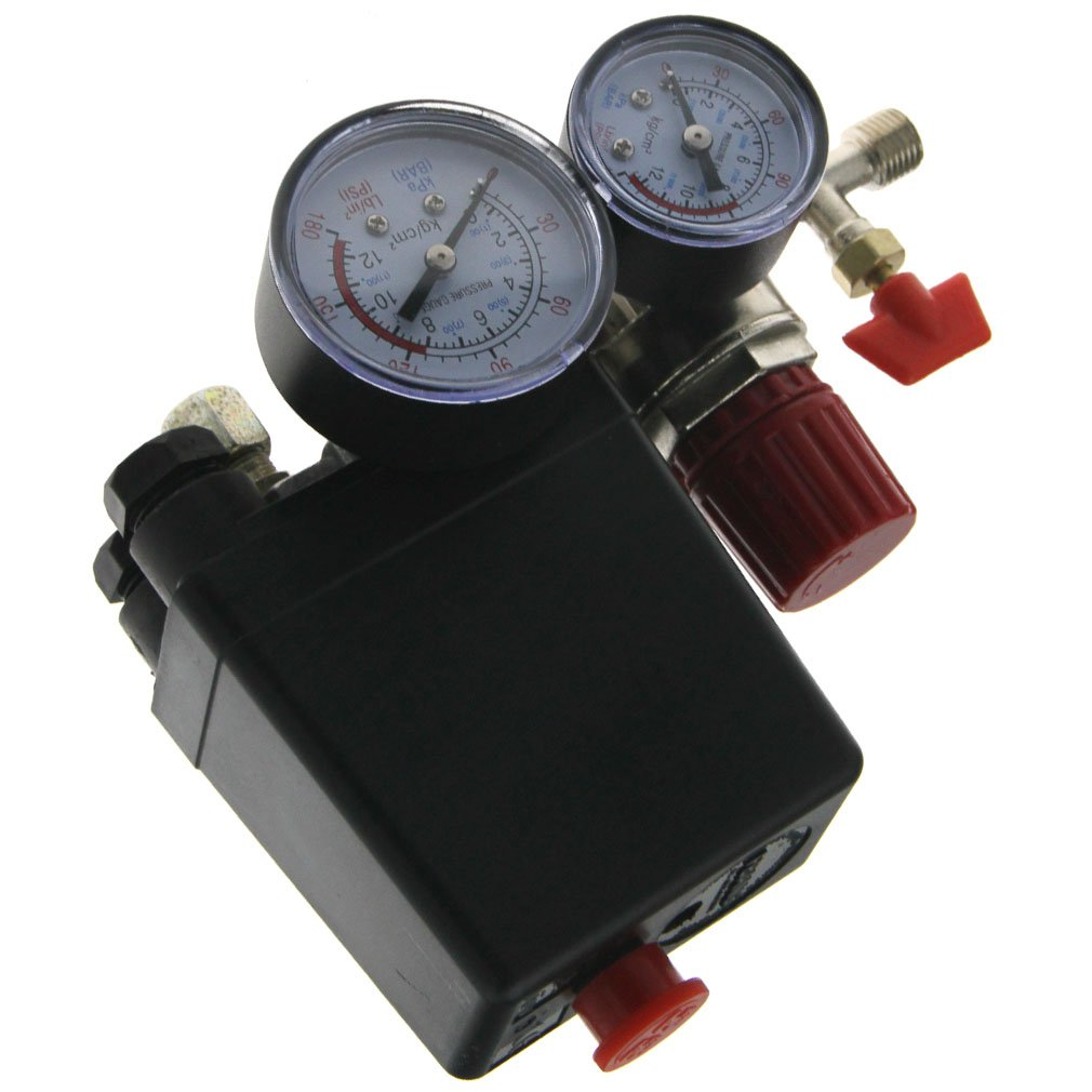 New Air Regulator Compressor Pressure Control Switch 90-120 PSI Relief Gauges SING F LTD