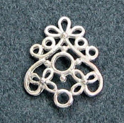 2 pcs .925 Sterling Silver Flower Filigree Chandelier Earrings Necklace ()