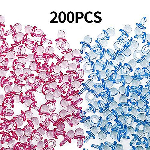 Etmact 200 Pieces Mini Clear Acrylic Baby Pacifiers For Baby Shower Decorations (Pink and Blue)]()