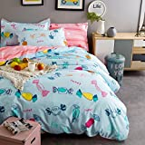 Cliab Colorful Candy Bedding Set Full Size for Kids Girls Duvet Cover Set 100% Cotton 4 Pieces