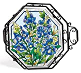 Amia 5711 Octagon Tray with Bluebonnet Design, 15-1/2-Inch W by 3-Inch D by 15-Inch H, Wrought Iron Frame, Includes Stand