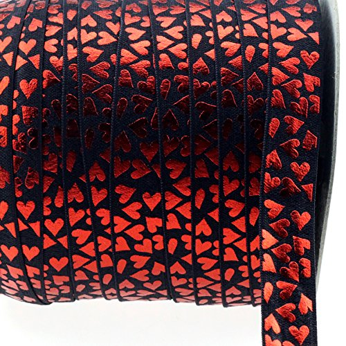 Midi Ribbon Stretch Red Love Heart Printed Fold Over Elastic Band 5/8