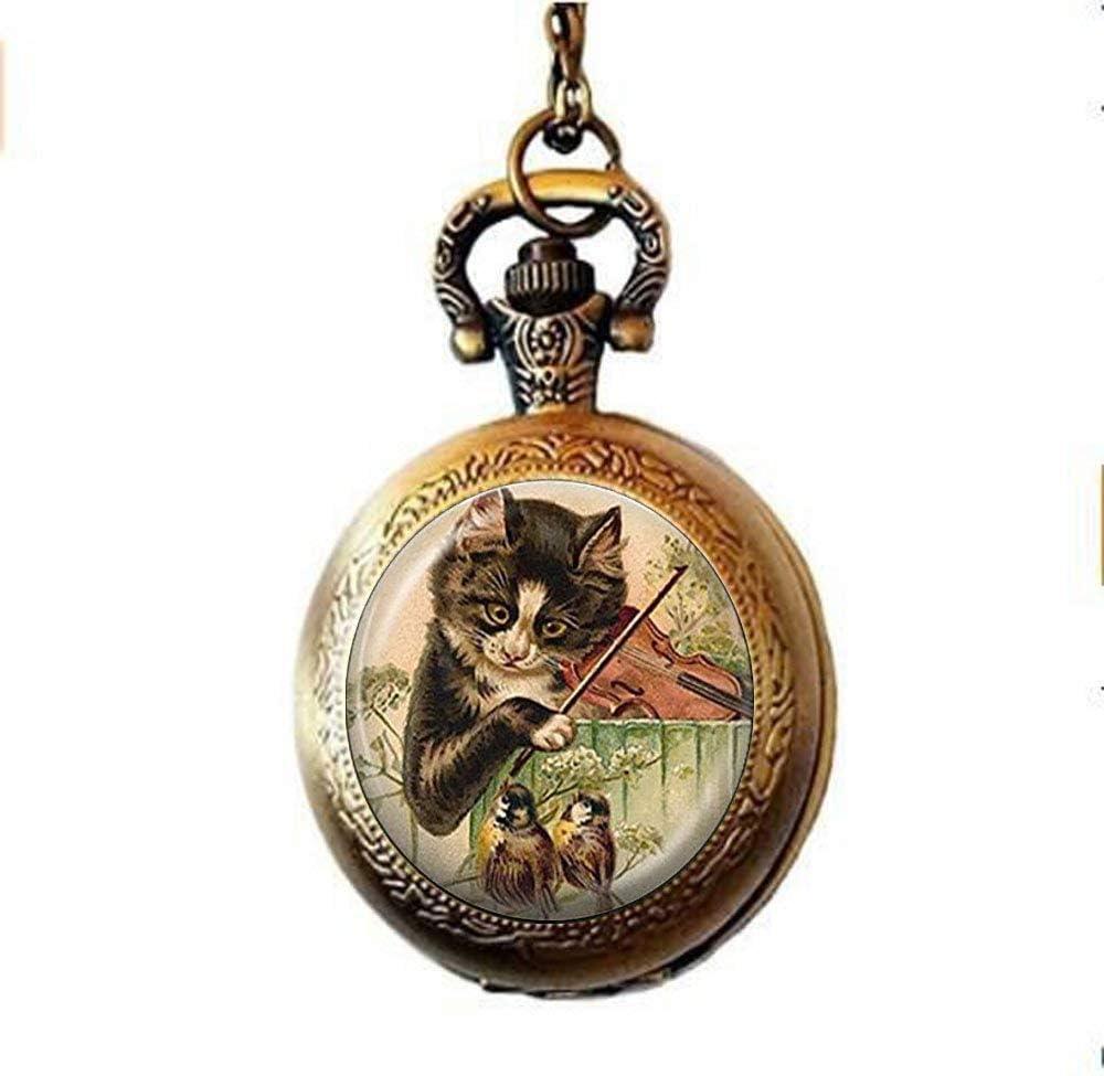 Collar de reloj de bolsillo con diseño de gato, joyería musical y pájaro, reloj de bolsillo, diseño de gato jugando al violín, hecho a mano, regalo de joyería: Amazon.es: Hogar