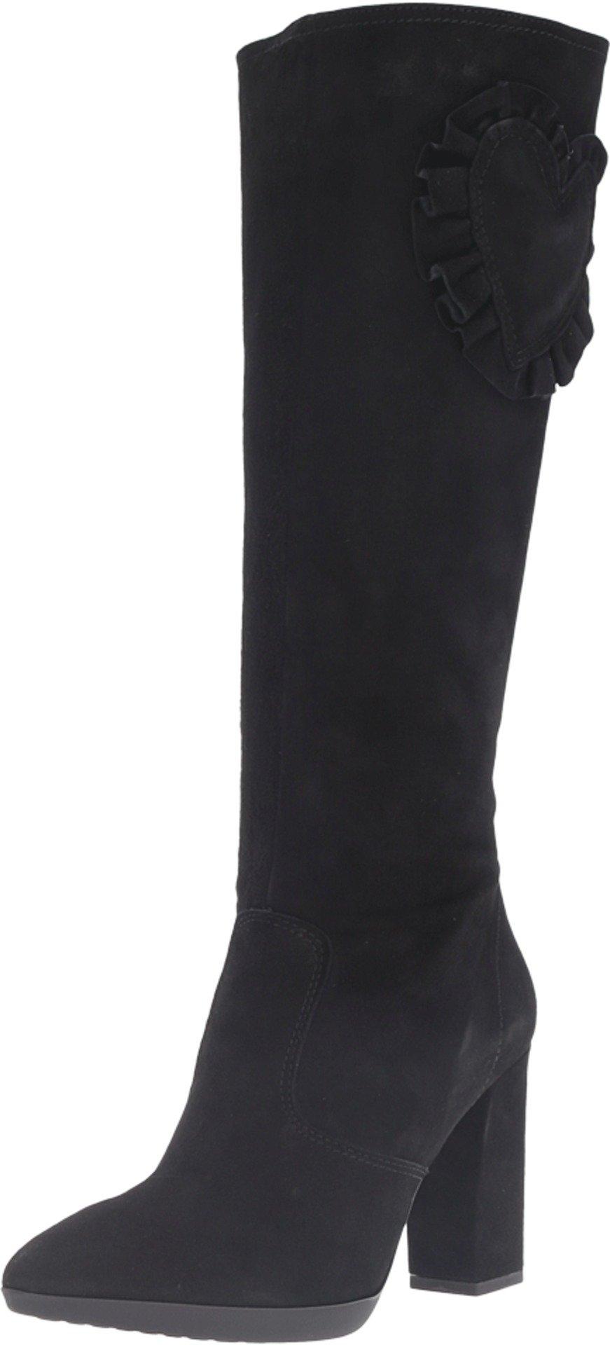 LOVE Moschino Women's Suede Rider Boot with Heel Black Boot 40 (US Women's 10) M
