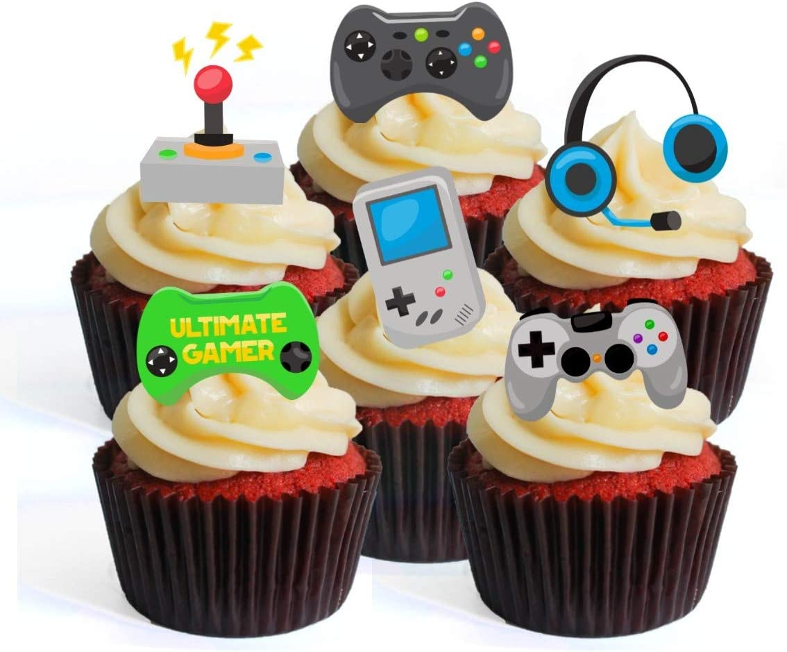 Gamer Theme Edible Cupcake Toppers - Stand Up Wafer Cake Decorations (Pack  of 5)