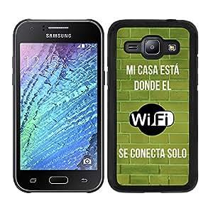 Funda carcasa para Samsung Galaxy J1 frase Mi casa está donde el wifi se conecta solo borde negro