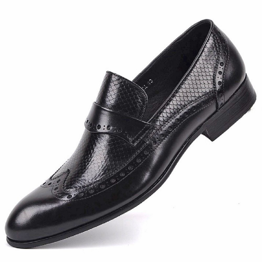 Black/Brown Size 5-11 Genuine Leather Mens Slip On Business Formal Suit Dress Wingtip Loafers Shoes