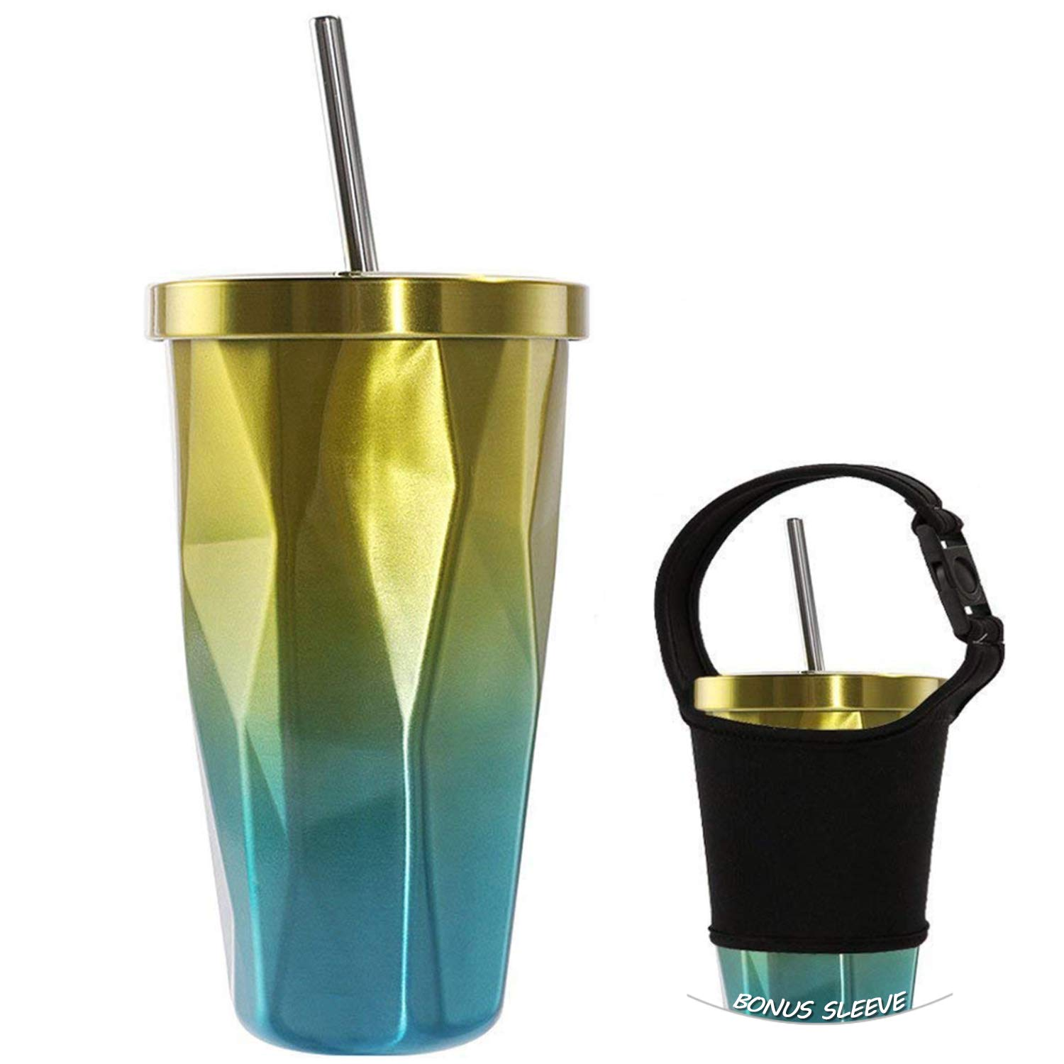 16oz Insulated Water Bottle Drinking Tumbler Coffee Mugs with Straw Double Wall Stainless Steel for Hot& Cold Drinks Irregular Shape with Lid XaoRy