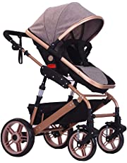 Festnight High View Baby Stroller Foldable Travel Pram Convertible Baby Carriage with Multi-Positon Reclining Seat Extended Canopy Newborn Infant Toddler Pushchair Coffee