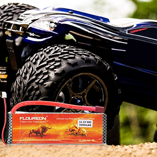 Floureon 2 Packs 3S 11.1V 3000mAh 30C Lipo Battery with Dean-Style T Connector for RC Airplane Helicopter Boat Drone and FPV (5.35x1.69x0.83 Inch)