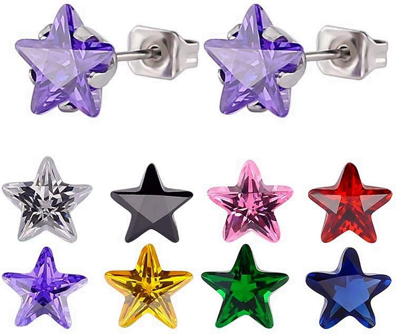 Beydodo Pendientes 8Pares Estrella con Circonita 8MM Pendientes de Acero Inoxidable Mujer Plata/Negro/Oro