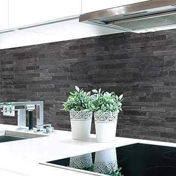 Kitchen Splashback Dark Stone Wall Premium Hard Pvc 0 4 Mm Self