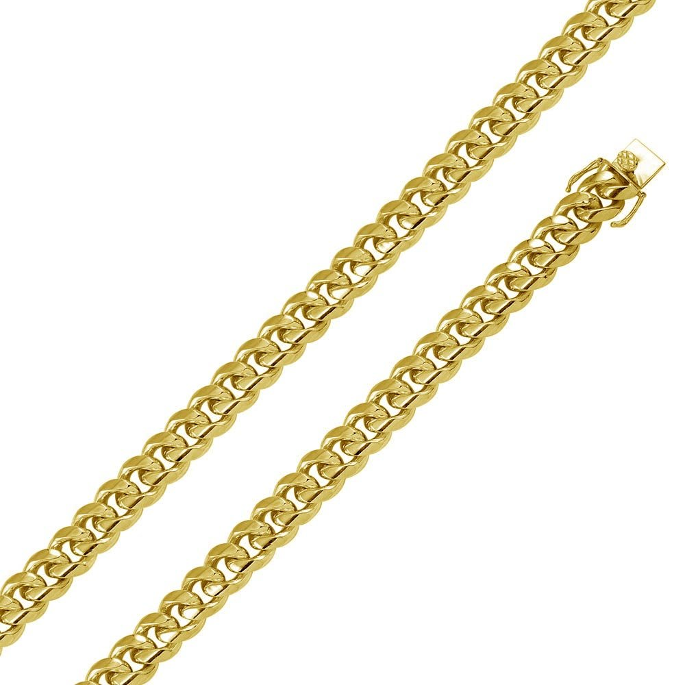CloseoutWarehouse Yellow Gold-Tone Plated Sterling Silver Miami Curb Chain 14.5MM