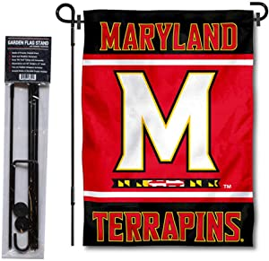 College Flags & Banners Co. Maryland Terrapins Garden Flag and USA Flag Stand Pole Holder Set