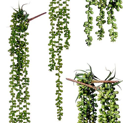 2 Pcs hanging Artificial Succulent Plants Hanging Bean Leaf Picks 28 inch Hanging Basketplant, Lover Tears Plants artificial hanging string of pearls plant fake succulent , String of Pearls