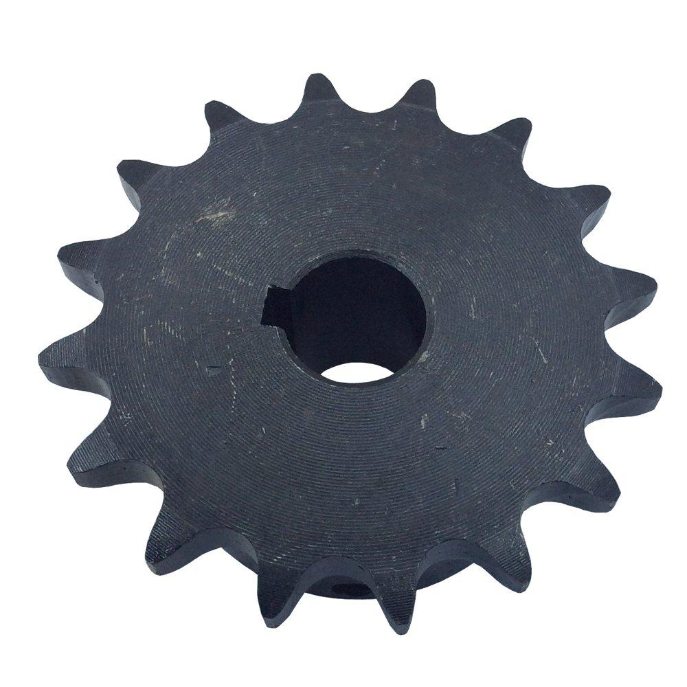KOVPT # 40 Chain Roller Sprocket 25 Teeth Bore 0.75 B Hub Type Pitch 0.5 Inch Carbon Steel Black