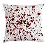 Horror Throw Pillow Cushion Cover by Ambesonne, Splashes of Blood Grunge Style Bloodstain Horror Scary Zombie Halloween Themed Print, Decorative Square Accent Pillow Case, 16 X 16 Inches, Red White