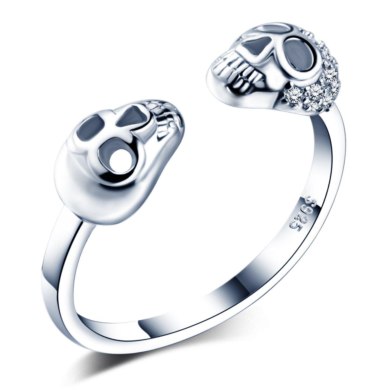 Infinite U Cool Skull - Anillo de apertura de plata de ley 925 con circonita cúbica para mujer/niña, tamaño ajustable de 5,5 a 7,5 Infinite Jewellery R5316