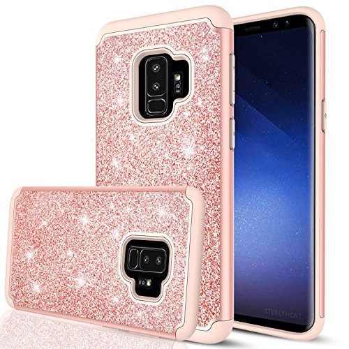 Samsung Galaxy S9 Glitter Case for Girls Women, LeYi Bling Cute Design [PC Silicone Leather] Dual Layer Heavy Duty Protective Phone Case for Galaxy S9 TP Rose Gold (Glove Body T-mobile)