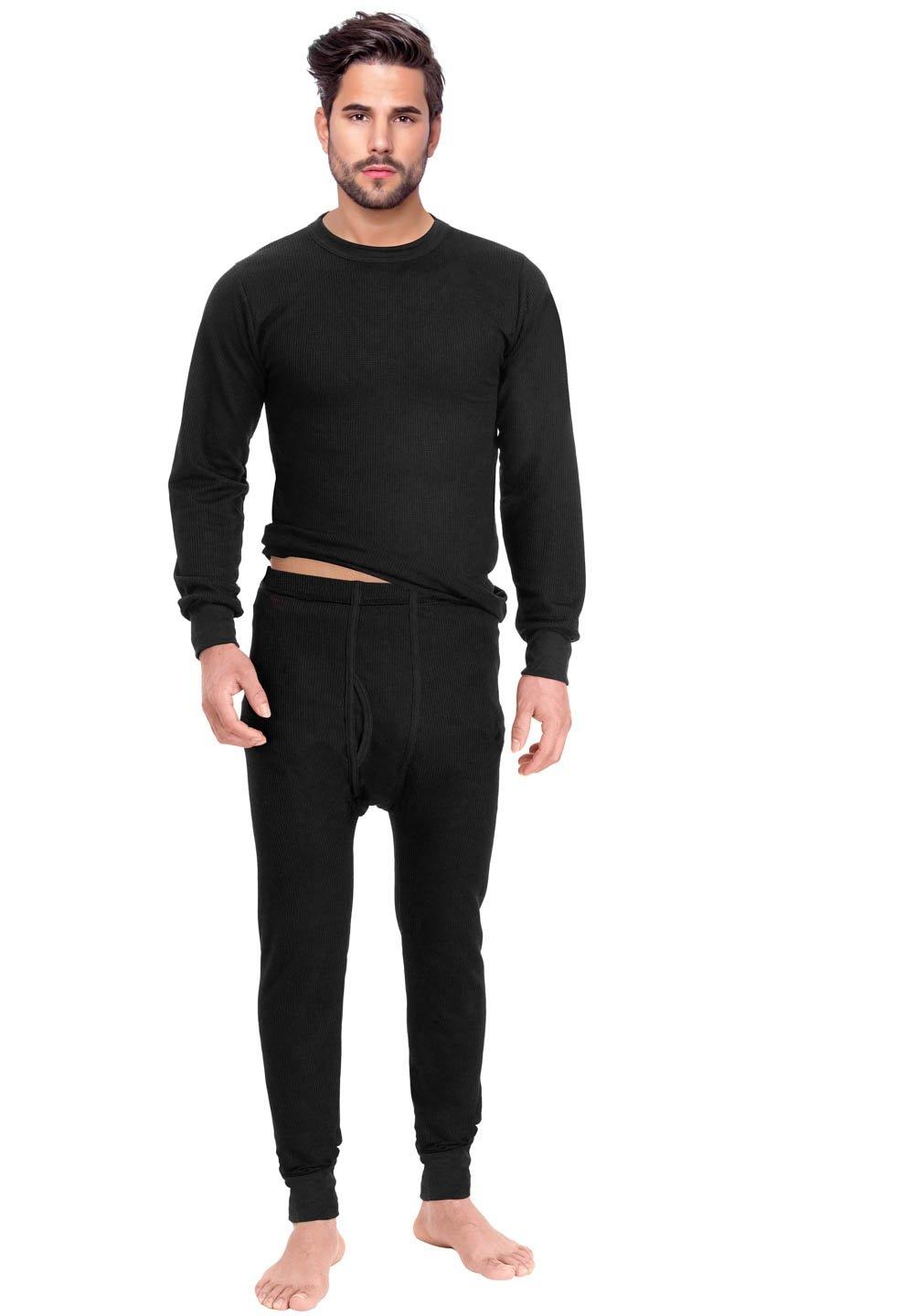 Rocky Men's Thermal 2pc Set Long John Underwear Medium Black
