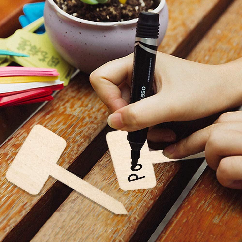 AILANDA 50 pcs Wooden Plant Labels Eco-Friendly T-Type Plant Sign Tags Garden Markers with Marker Pen for Seed Potted Herbs Flowers Vegetables