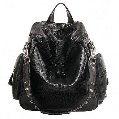 Amazon.com: Multifunction Backpacks Women Bookbags Rivet Leather School Backpack Lady Shopping Bags: Clothing