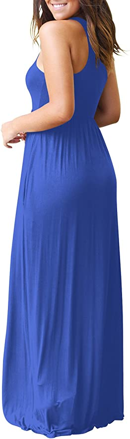 Yan-EU damska letnia sukienka, bez rękawÓw, długa sukienka, z wycięciem typu racerback, luźna, sukienka maxi, z kieszeniami: Odzież