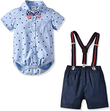 WARMSHOP Outfit Sets for Girls Toddler Solid Ruffle Short Sleeve Cotton Tops Blouse and Cartoon Print Overalls Dress
