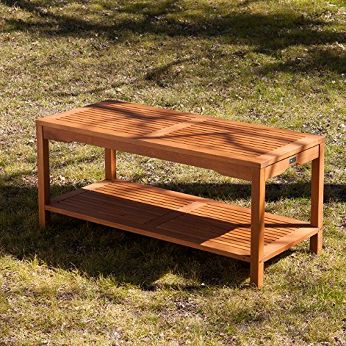 Catania Outdoors Wood Cocktail Table - 2 Tier Design w/ Slatted Top - Outdoor Design