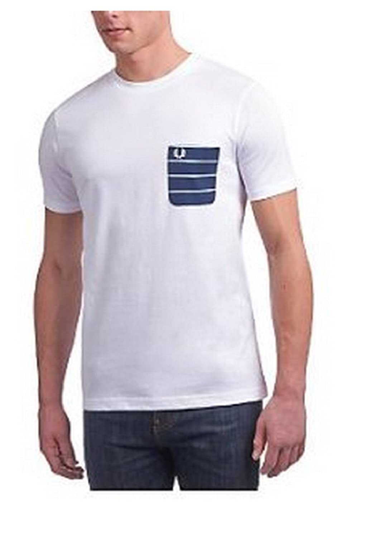 Fred Perry Bolsillo de Color Blanco diseño de Rayas Camiseta de ...