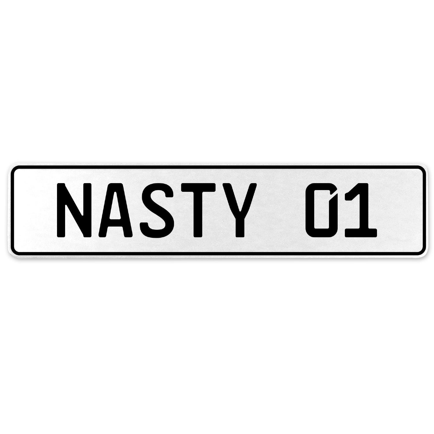 Vintage Parts 556875 Nasty 01 White Stamped Aluminum European License Plate