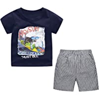 Yilaku Summer Baby Boys Clothes Set 2 Pcs Cotton Short Sleeve Shirt Shorts Outfits Set