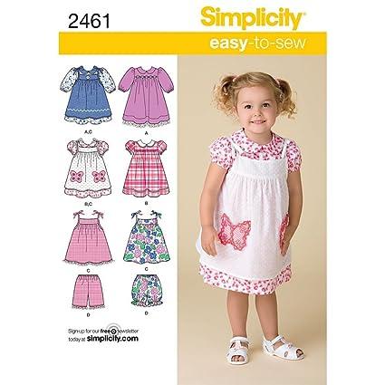 207e8f737 Simplicity 2461 - Patrones de Costura para Vestidos de niñas (Varias Tallas)