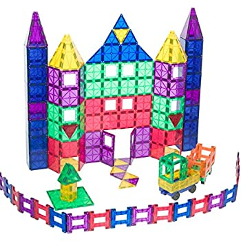 Playmags 150 Piece Set: With Strongest Magnets Guaranteed, Sturdy, Super Durable with Vivid Clear Color Tiles. 18-piece Clickins Accessories to Enhance your Creativity