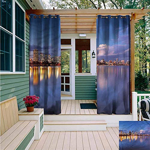 Beihai1Sun Outdoor Grommet Top Curtain Panel,Modern Western Australia at Night,for Patio/Front Porch,W72x84L (Australia Patios Western)