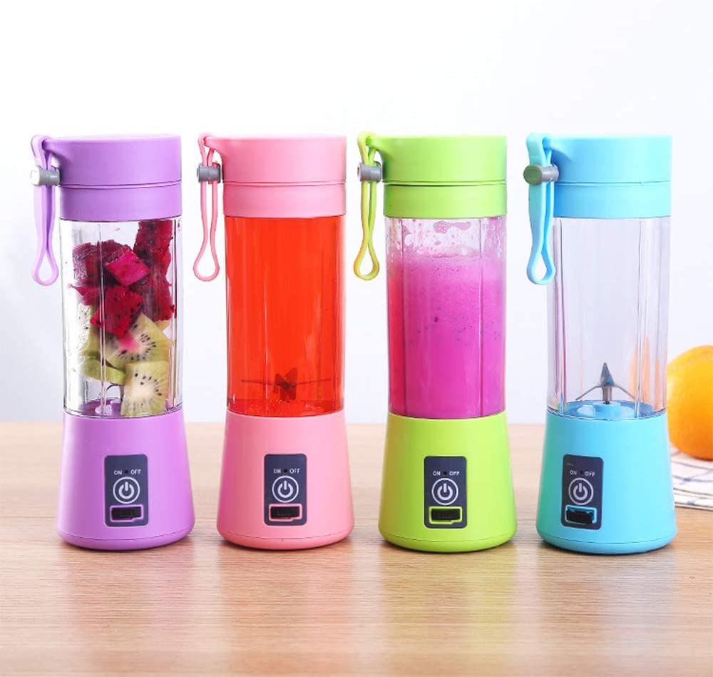 Blue Portable Mini Blender USB Rechargeable Battery Travel Fruit Juicer Cup Mixer Mini Blender for Shakes and Smoothies