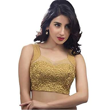 Bollywood Blouses Women s Fancy Sleeveless Designer Saree Blouse Large Gold