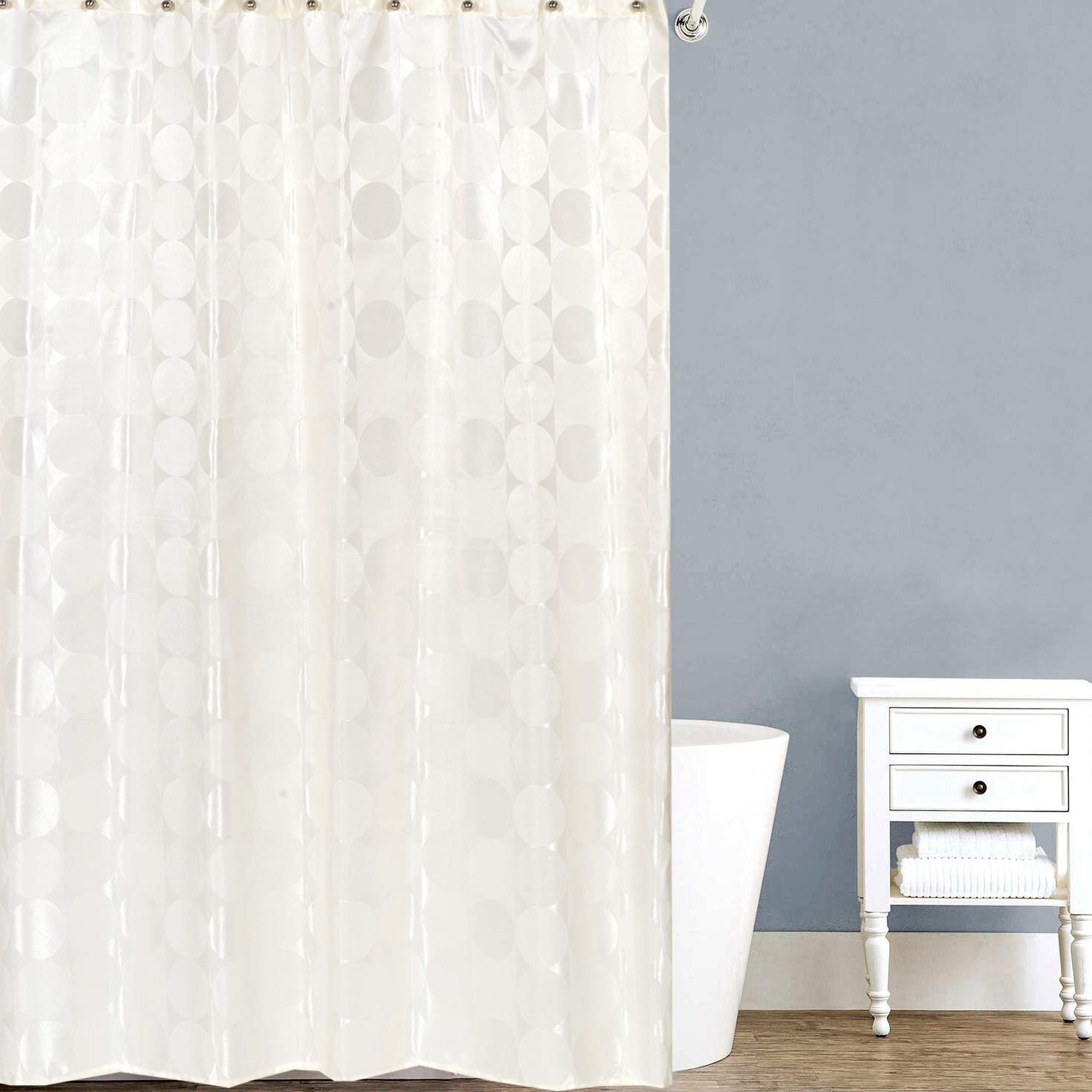 Water Resistant Easy Hang Ivory Sweet Home Collection Curtain 72 x 70 Anti-Mildew Material Fun Designs for Shower Stalls /& Bathtubs Standard Machine Washable Fabric