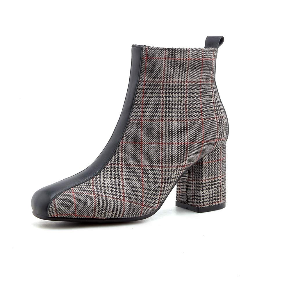 Red Women Round Toe Zip Party Booties Chunky Heel Martin Boots Winter shoes Lady Elegant Lattice Ankle Boots