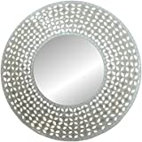 "Lulu Decor, Frosty Decorative Mosaic Wall Mirror, Decorative Handmade Round Mirror, Diameter 23.5"", Mirror 11.5"""