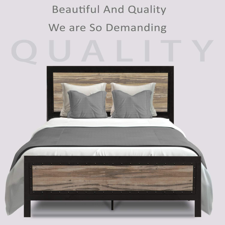 Urest Queen Size Bed Frame with Headboard Platform Bed Metal Bed Frame Strong Slat Support No Box Spring Needed, Black