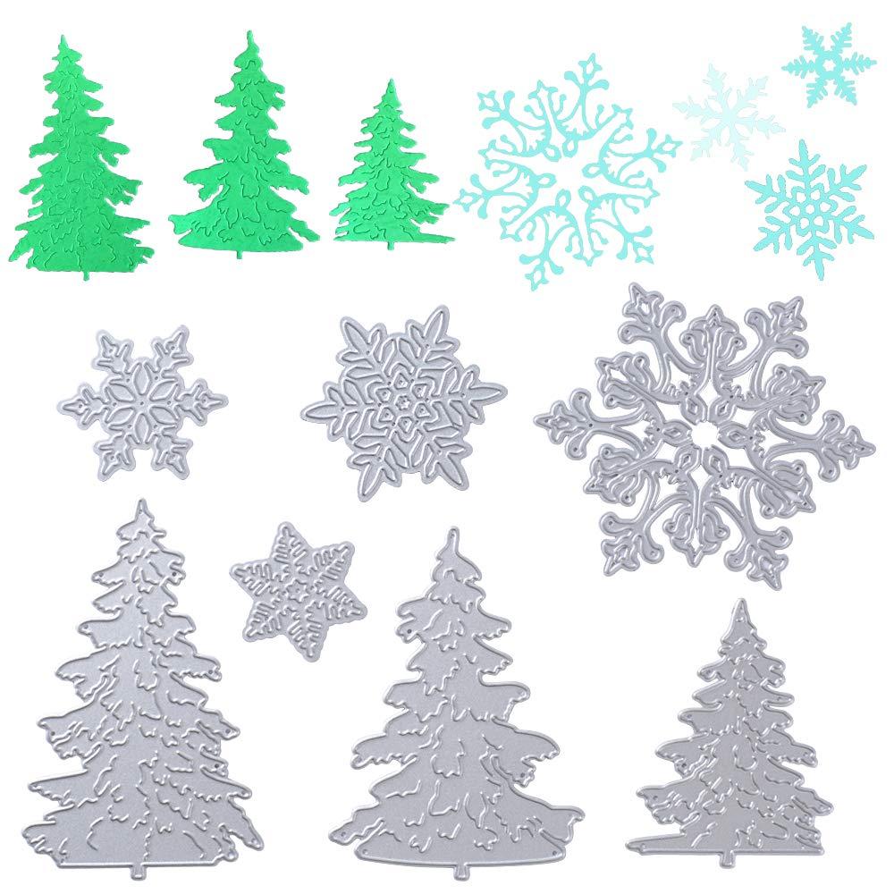 VINFUTUR 7pz Fustelle Natale Albero Fiocchi di Neve Stencil Cutting Dies per Fai da Te Album di Carta Biglietti Scrapbooking