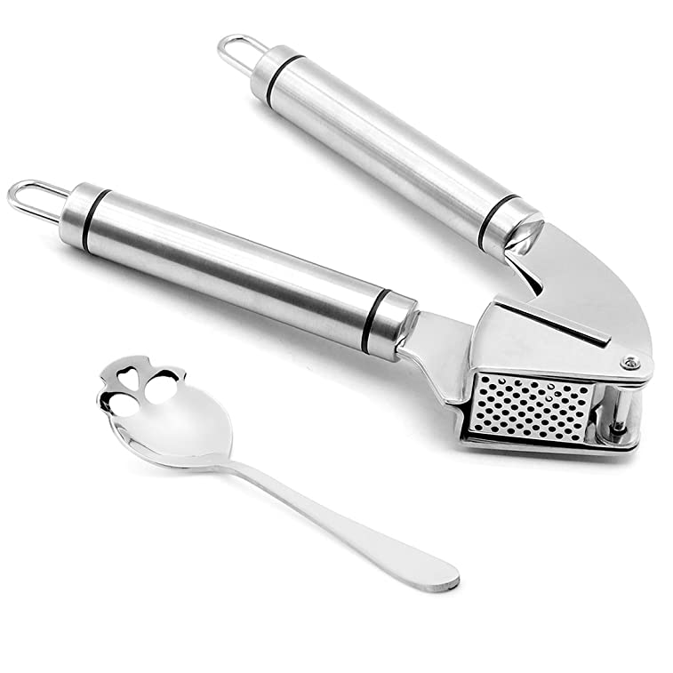 Garlic Press - CTOUBEE Professional Kitchen Assistant Stainless Steel Garlic Mincer, Crusher and Garlic Peeler Machine Silicone Tube Roller (Includes a Skull Spoon)