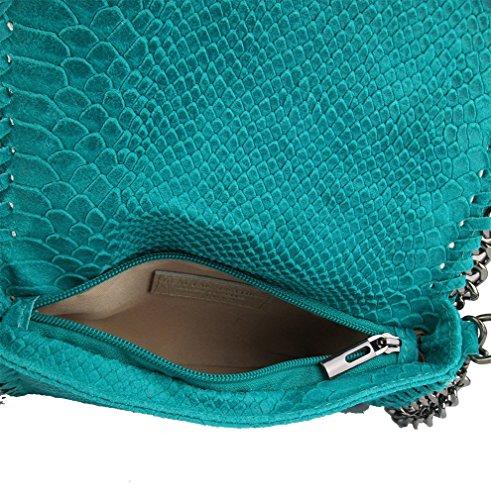 Clutch borsa da sera tracolla in catena vera pelle Made in Italy piton verde fg Perfecto Para La Venta Holgura Con Mastercard GgqRgo9
