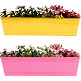 Trust Basket Rectangular Railing Planters (23-inch, Yellow and Magenta, Pack of 2)