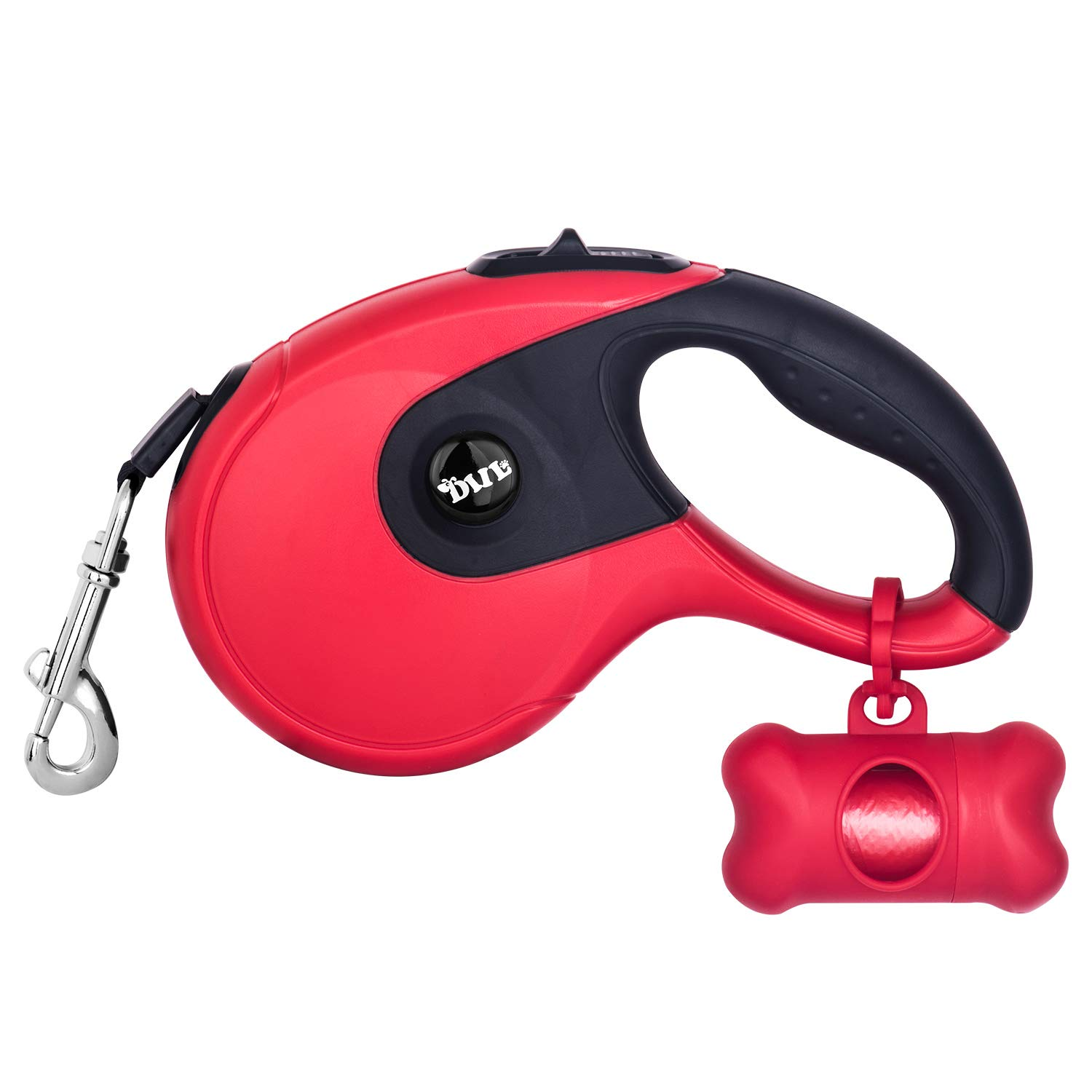 Durable Retractable Dog Leash,16 ft Dog Walking Leash for Small Medium Large Dogs up to 110lbs, 360° Tangle Free, One Button Break & Lock, Dog Waste Dispenser and Bags Included (red) by LEPSO